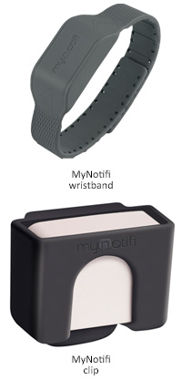 MyNotifi wristband and MyNotifi clip for fall detection and fall prevention
