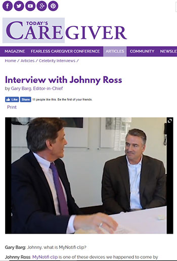 Johnny Ross discusses the benefits of the MyNotifi fall detection wristband and belt clip with Today's Caregiver